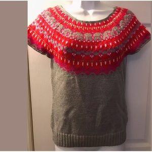 New MODA International Fair Isle Sweater Keyhole